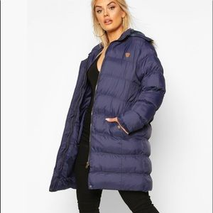 Plus Longline Padded Hooded Jacket